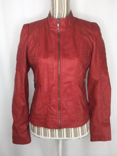 womens jacket small moto red faux leather