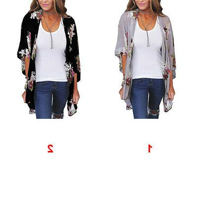 Women Floral Shawl Top Jacket US