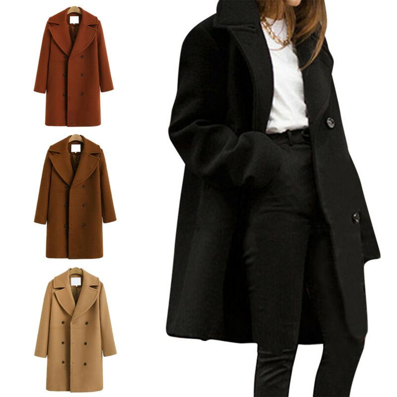 Women Coat Peacoat Jacket Button Outwear