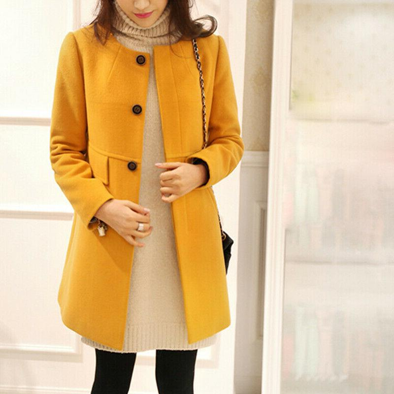 Women Winter Duffle Coat Button Outwear