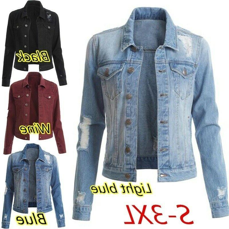 Womens Boyfriend Denim Jacket Autumn and Winter Ripped Solid