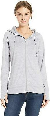 Amazon Essentials Womens Brushed Tech Stretch Full-Zip Grey