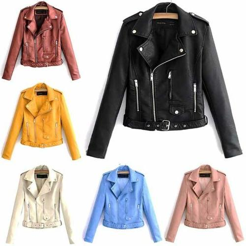 Womens Leather Short Parka Tops