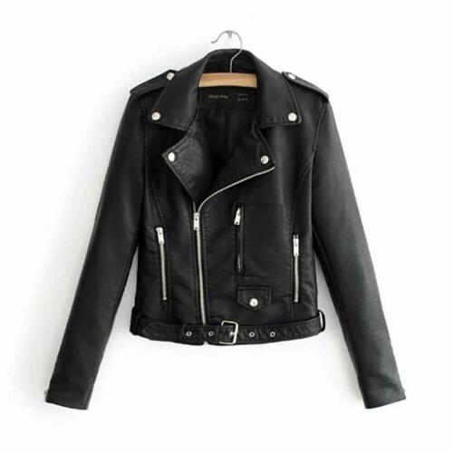 womens coat casual faux leather jackets lapel
