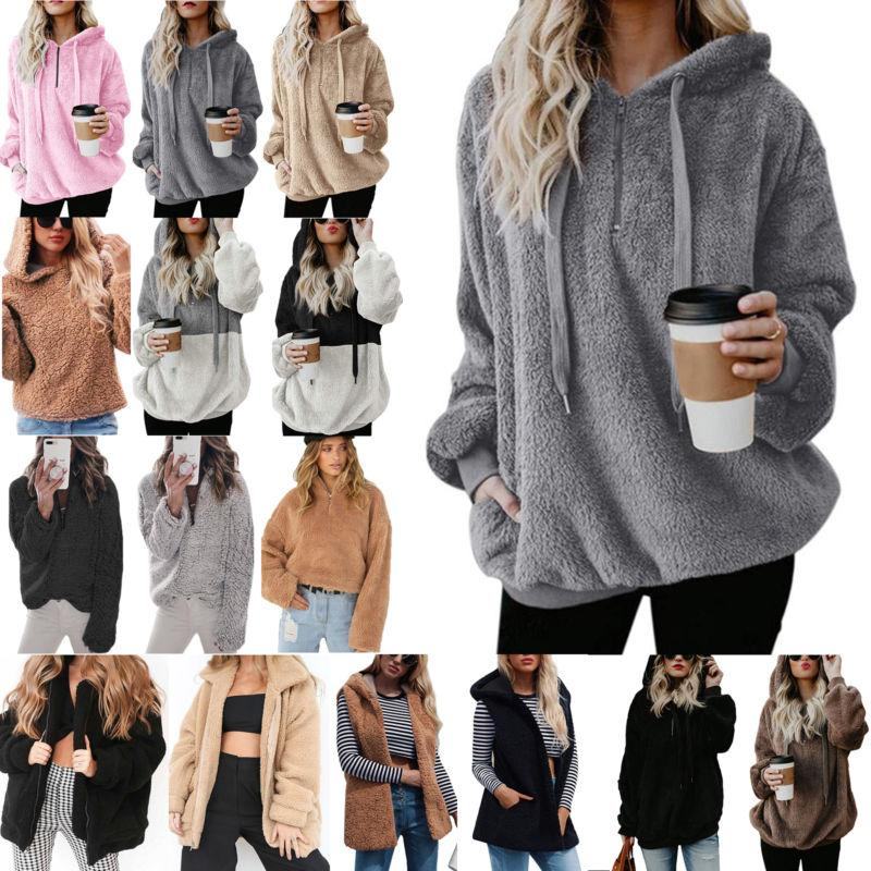 Womens Faux Fur Teddy Bear Fleece Coat Ladies Jacket Sweater