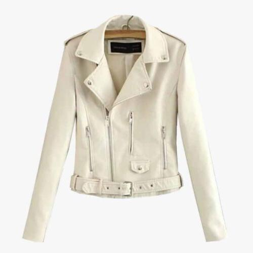 Womens Leather Coat Casual Parka