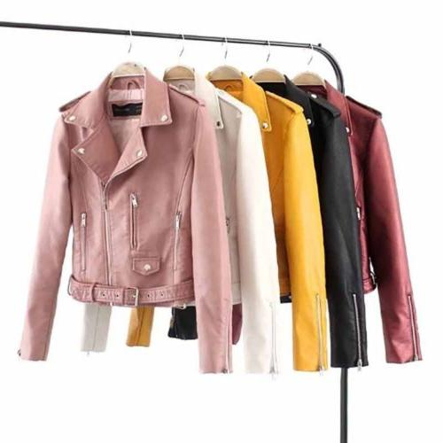 womens faux leather jackets coat casual lapel