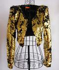 Women's Gold Sequins Shoulder Jackets Nightclub DJ Singer Co