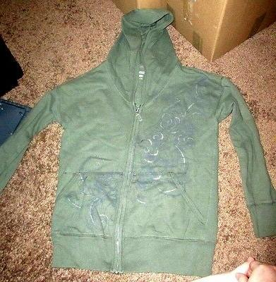 womens green s zip up hooded jacket