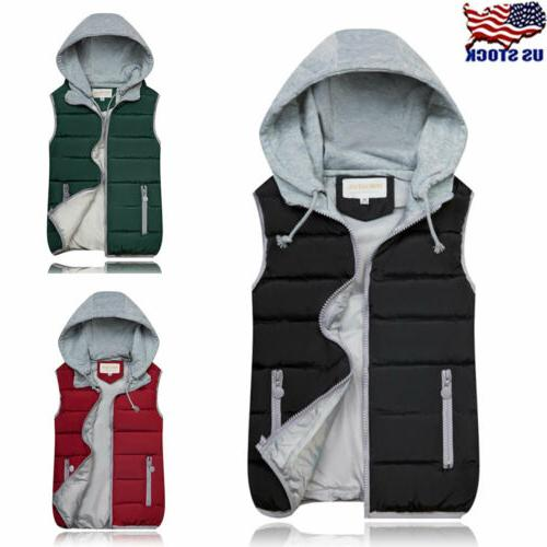womens hooded vest sleeveless waistcoat winter warm