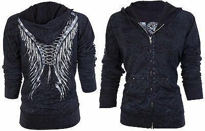 AFFLICTION Womens Hoodie ZIP UP MICHELLE Biker RHINESTONES $74