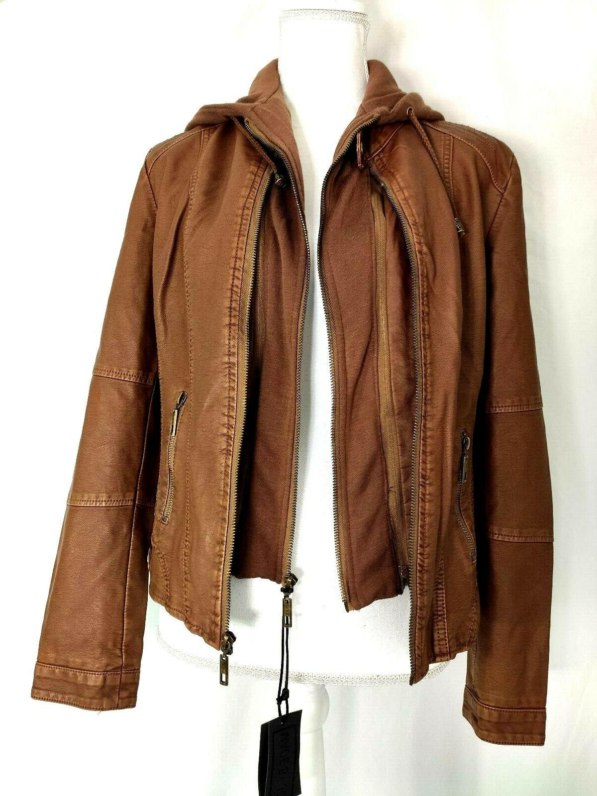 Made By Jacket Brown Camel Faux Leather Up Biker