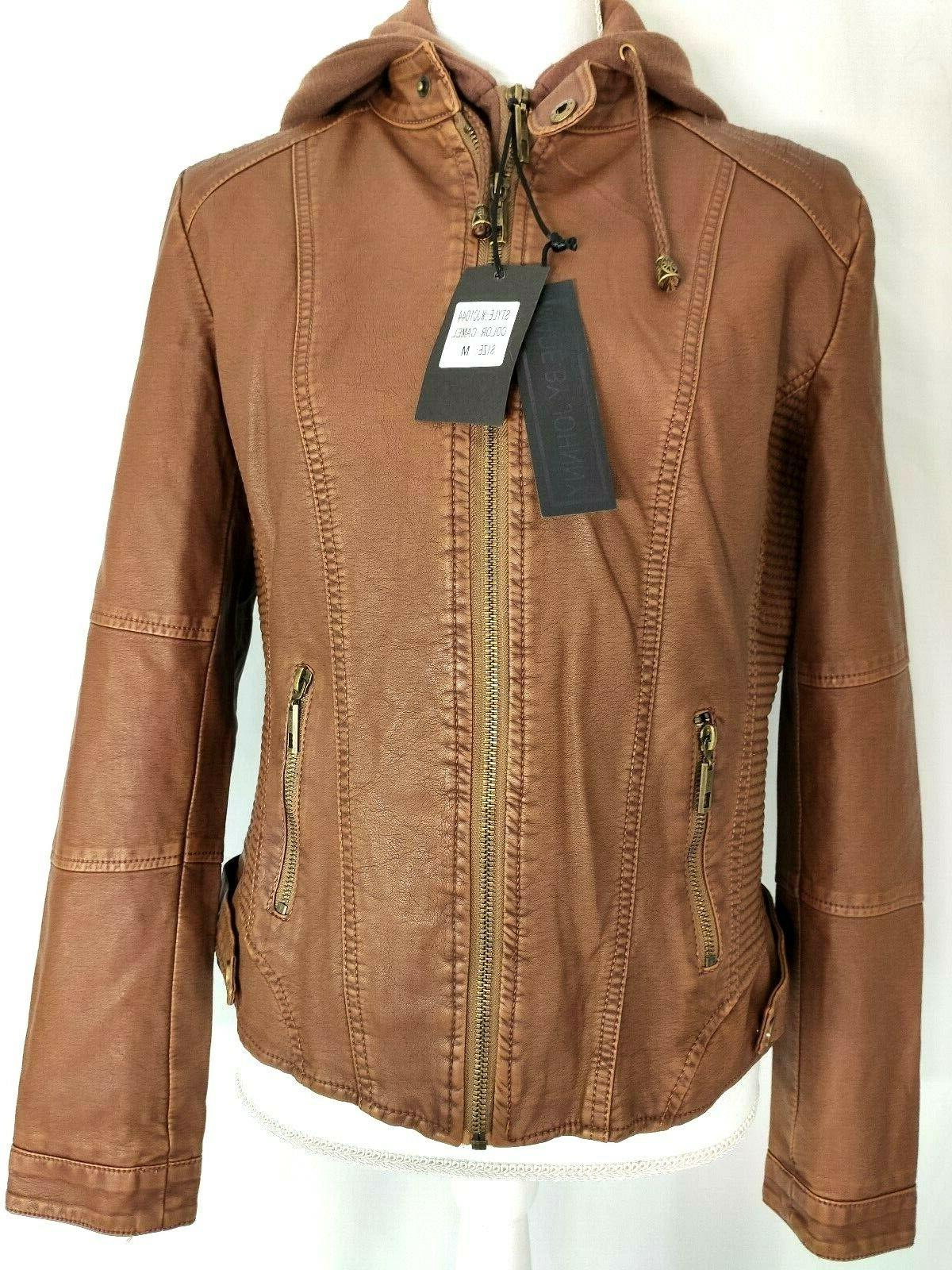 womens jacket brown camel faux leather zip