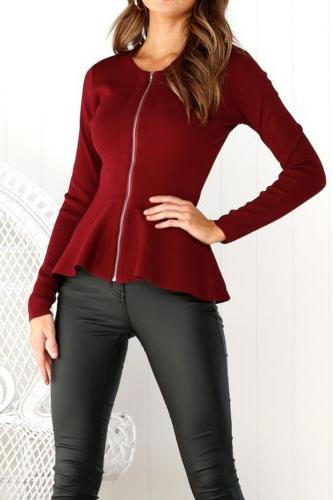 Womens Ladies Zip Blazer Jacket Top