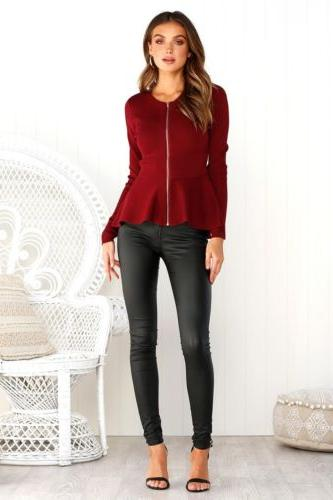 Womens Ladies Ruffle Plus Blazer Jacket Long Sleeve