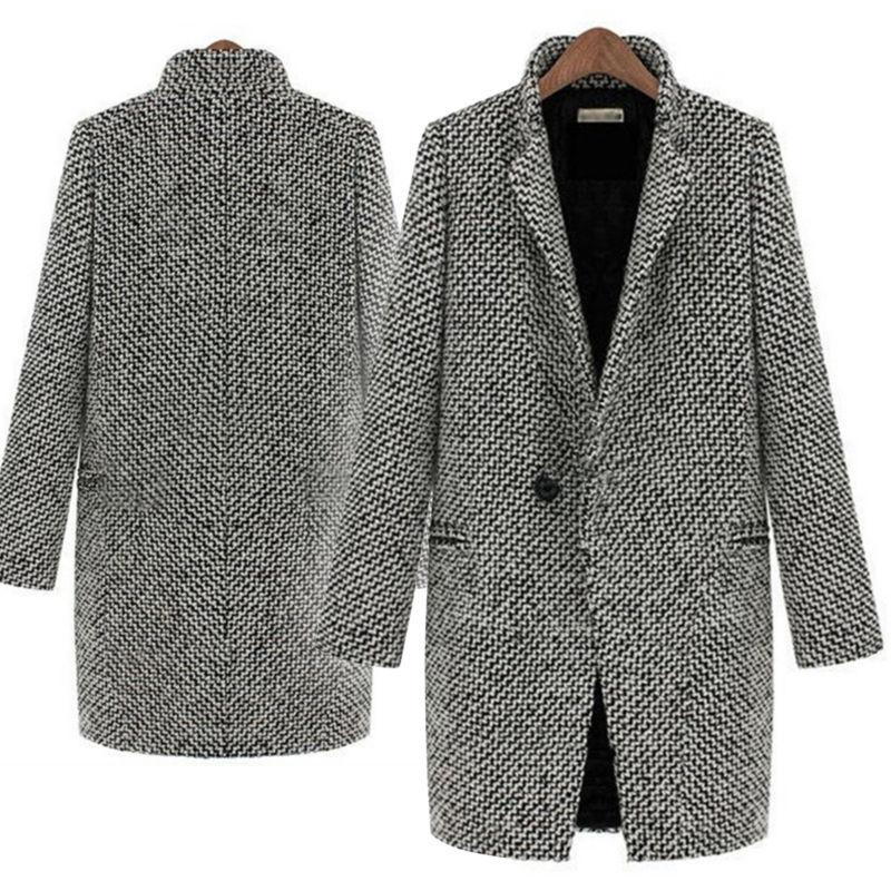 Womens Lapel Wool Cashmere Coat Trench Parka