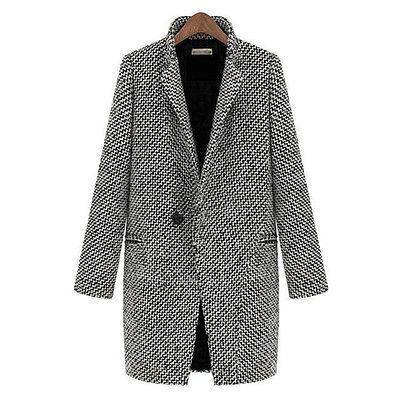 Womens Lapel Wool Cashmere Coat Trench Jacket Parka Loose