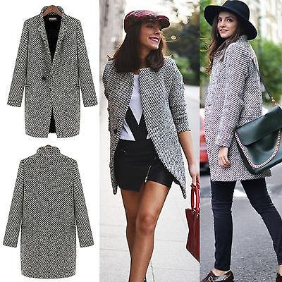 Womens Lapel Wool Coat Trench Jacket Parka Overcoat Loose