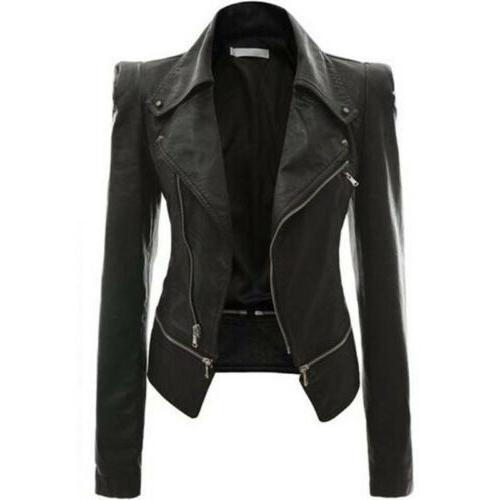 Womens Leather Biker Coat Short Punk Motorcycle Jacket Lapel