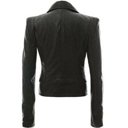 Womens Leather Biker Coat Short Punk Jacket Lapel