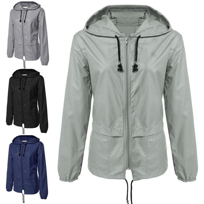 womens rain waterproof jacket ladies hooded outdoor