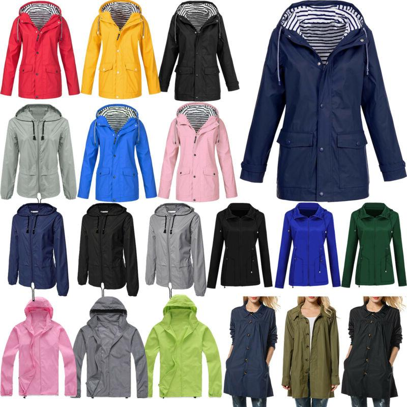 Womens Long Wind Jacket Winter Rain