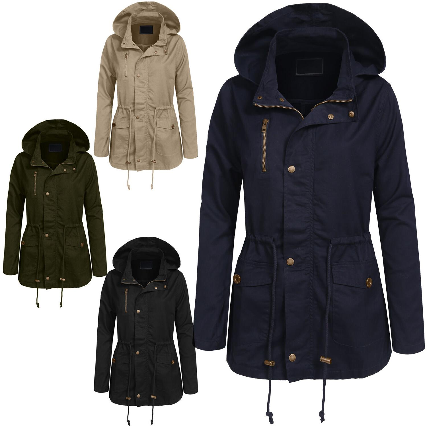 womens long sleeve military anorak hooded jacket