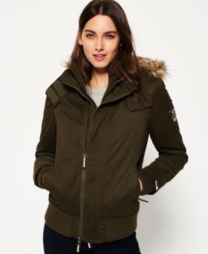 Womens Superdry Microfibre SD-Windbomber Jacket Army