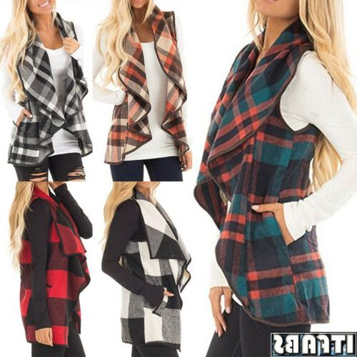 Womens Plaid Hooded Waistcoat Vest Winter Warm Sleeveless Coat
