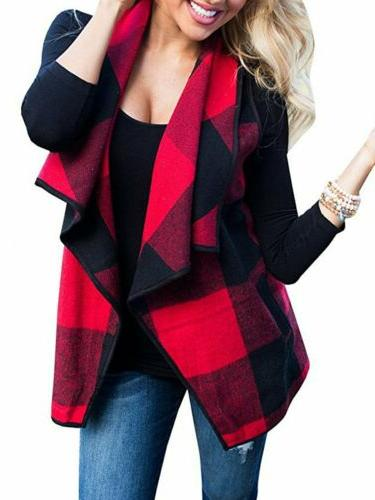 Womens Plaid Hooded Waistcoat Vest Winter Warm Sleeveless Jacket