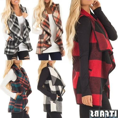 Womens Plaid Hooded Waistcoat Vest Warm Sleeveless Jacket