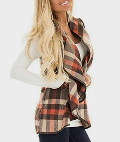 Womens Plaid Vest Casual Sleeveless Coat