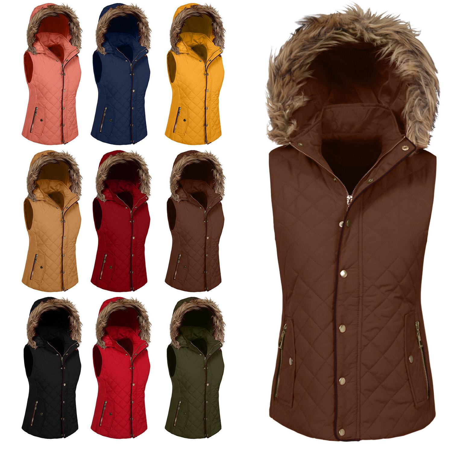 womens quilted fur vest light weight jacket