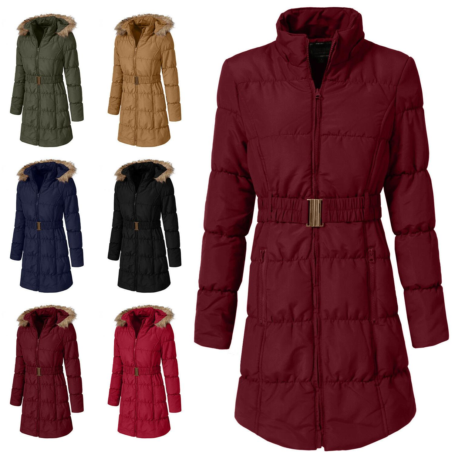 NE PEOPLE Womens Quilted Long Jacket Coat Detachable Hoodie