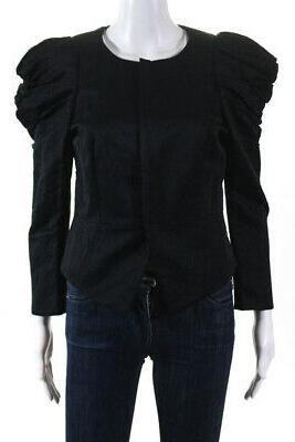 womens ruched sleeves jacket black cotton size