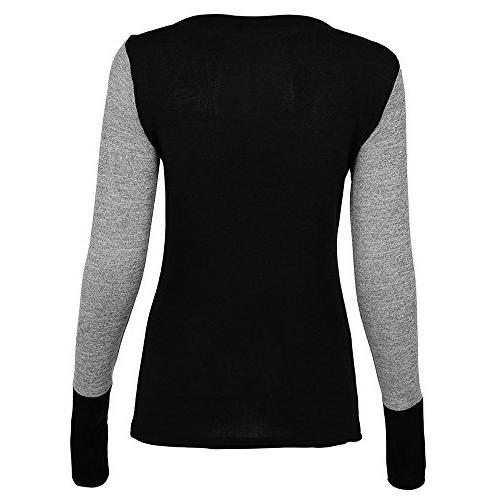 iHHAPY Womens Sexy Neck Color Sleeve Jumper Comfortable Blouse