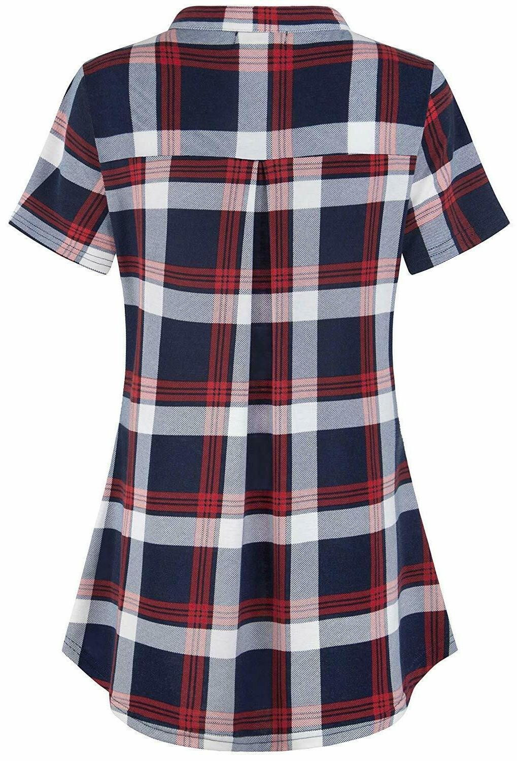 BEPEI Short Plaid up Neck Casual Blouse Top