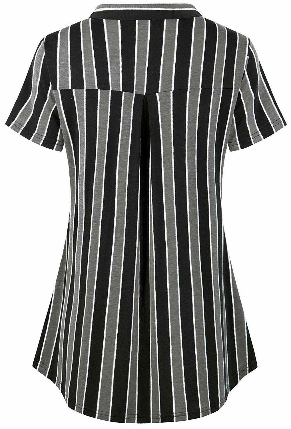 BEPEI Plaid up V Casual Blouse Top