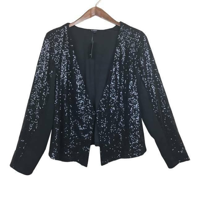 womens size 2 black sequin mesh jacket
