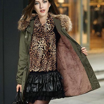 Womens Fur Hooded Warm Parka