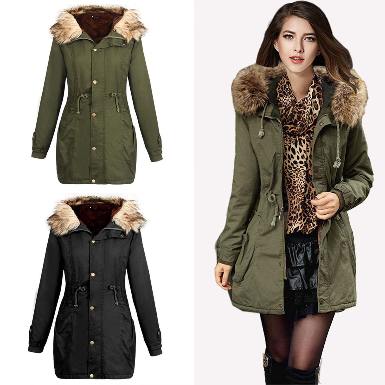 Women's Thicken Fur Collar Winter Coat Overcoat