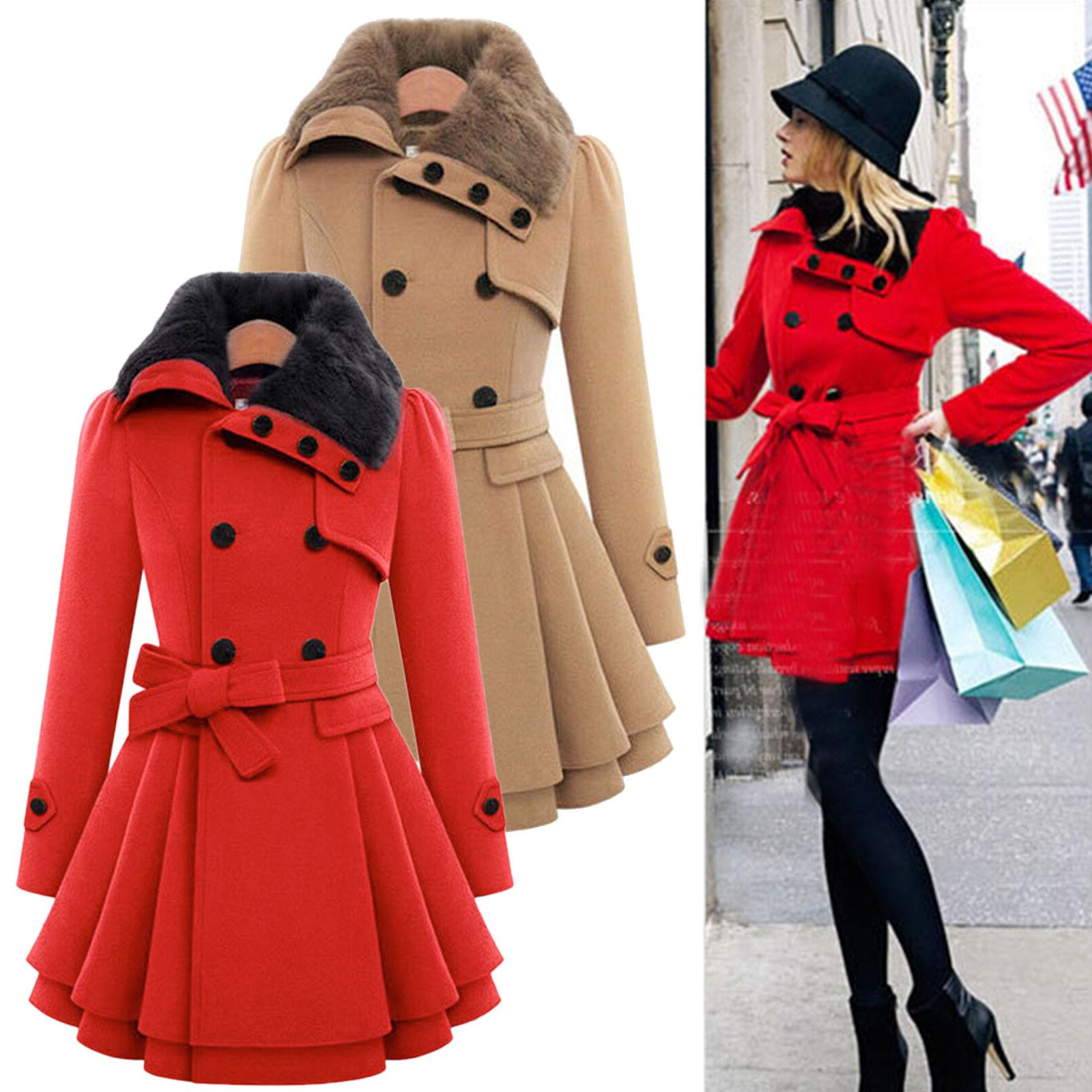 Womens Warm Winter Long Coat Trench Outwear Dress US