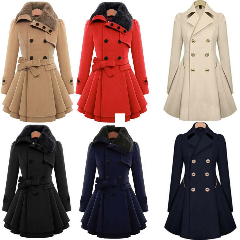 womens warm fur collared winter long peacoat