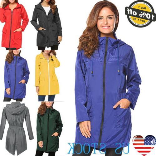 Womens Waterproof Jacket Stretch Coats Slim Raincoat Outdoor