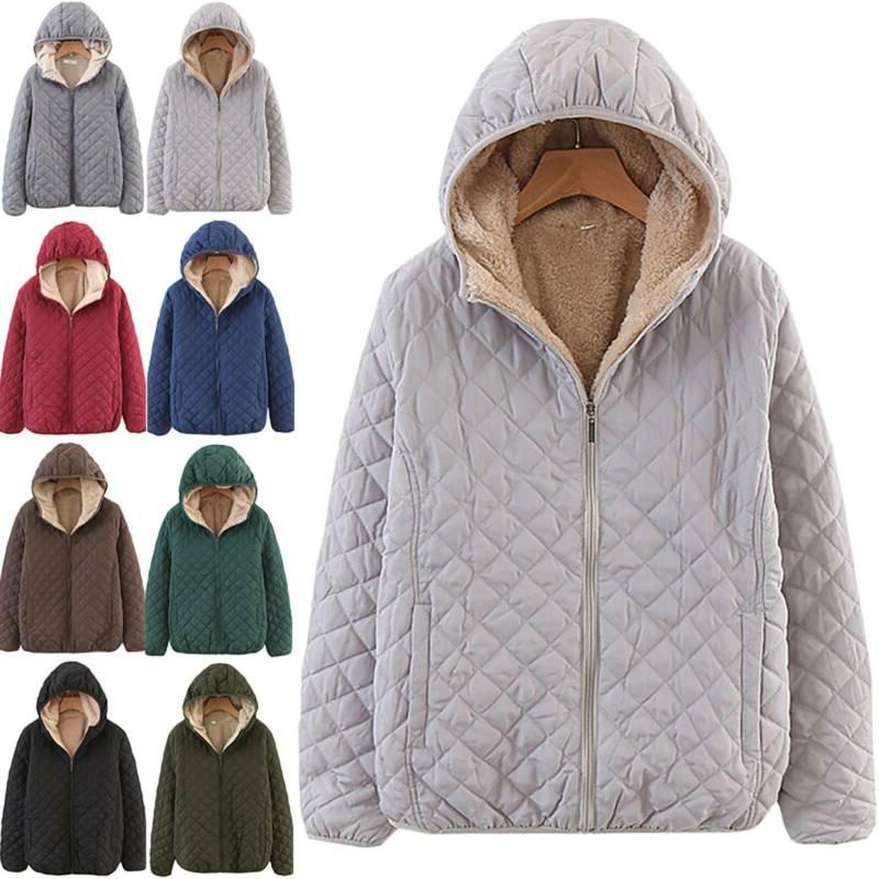 Womens Fleece Lined Winter Warm Thick Quilted Jacket Hoodies