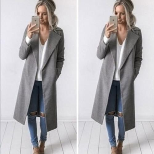 Womens Winter Lapel Trench Parka Overcoat Outwear USA