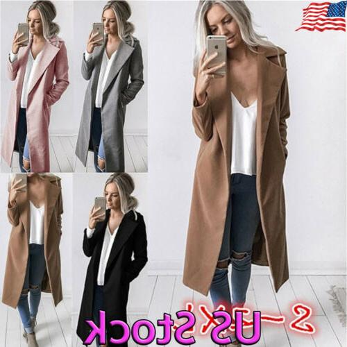 womens winter warm wool lapel long coat
