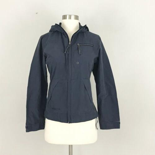 womens xs cotton spring jacket hood blue