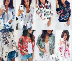 Ladies Floral Retro Slim Fit Coat Womens Casual Zipper Up Ou