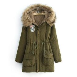 Ladies Fur Lining Coat Womens Winter Warm Thick Long Jacket